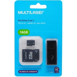 3X1: PENDRIVE + ADAPTADOR SD 16 GB + MC112